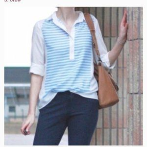 J.Crew Scarf Popover White and Blue Striped top